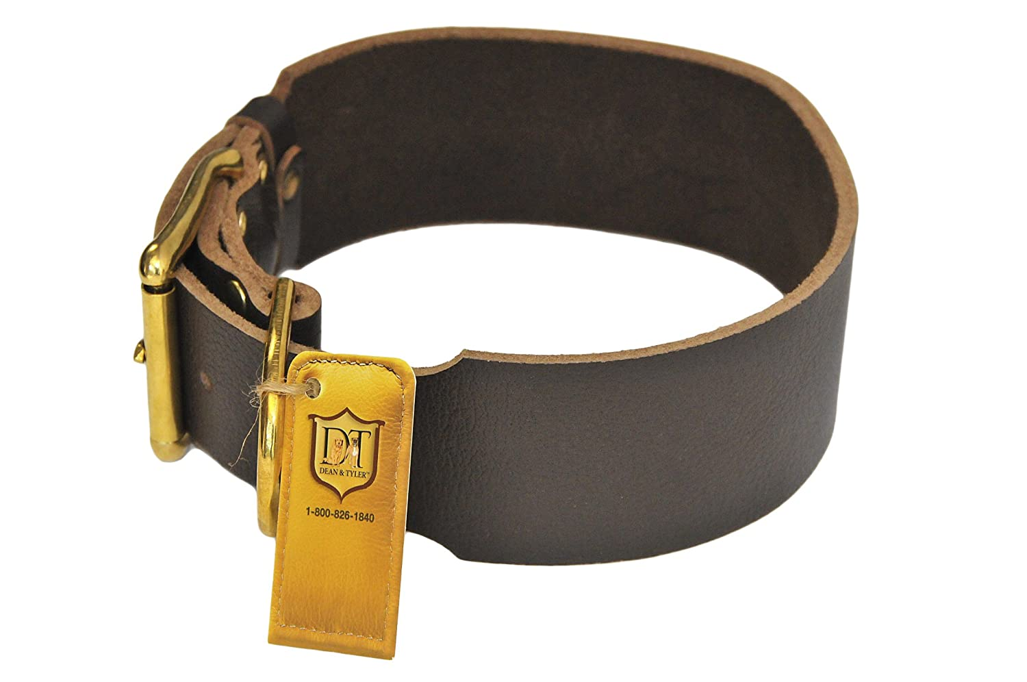 Dean and Tyler B and B , Basic Leather Dog Collar with Solid Brass Hardware Brown Size 34-Inch by 1-1 2-Inch Fits Neck 32-Inch to 36-Inch