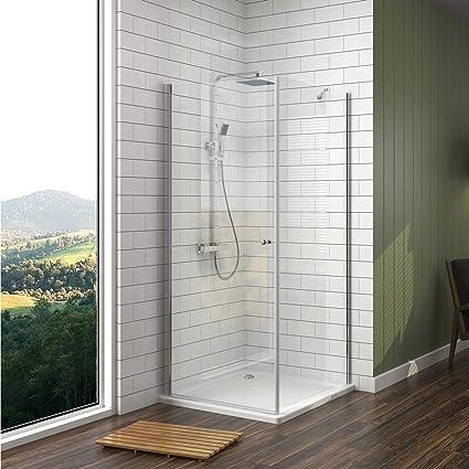 Meykoe Duschkabine Pendeltür 90x90cm aus 6mm ESG Sicherheitsglas mit Nano Beschichtung Dusche mit Seitenwand Höhe 185cm Rahme