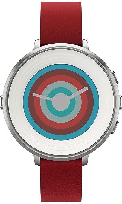 21 opinioni per Pebble Time Round Smartwatch in cassa d'argento, cinturino in pelle, 20 mm,