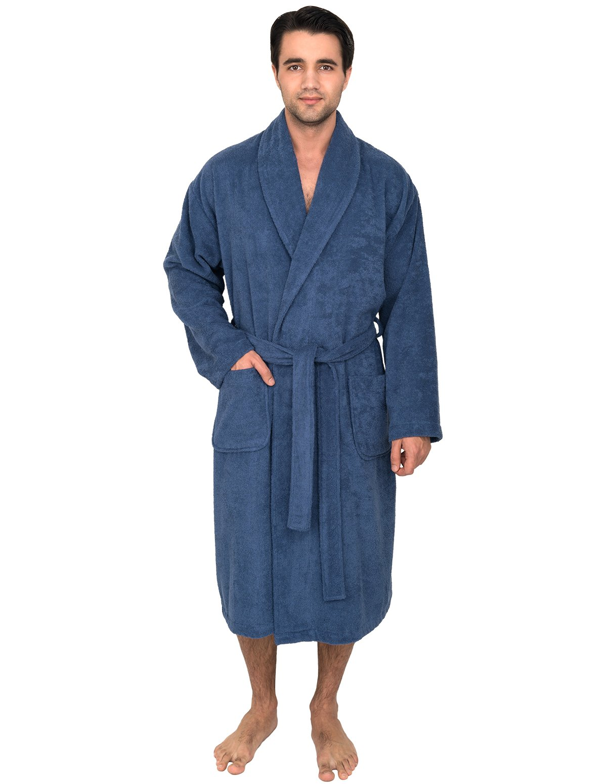 TowelSelections Men's Robe, Turkish Cotton Terry Shawl Bathrobe Large/X-Large Bijou Blue