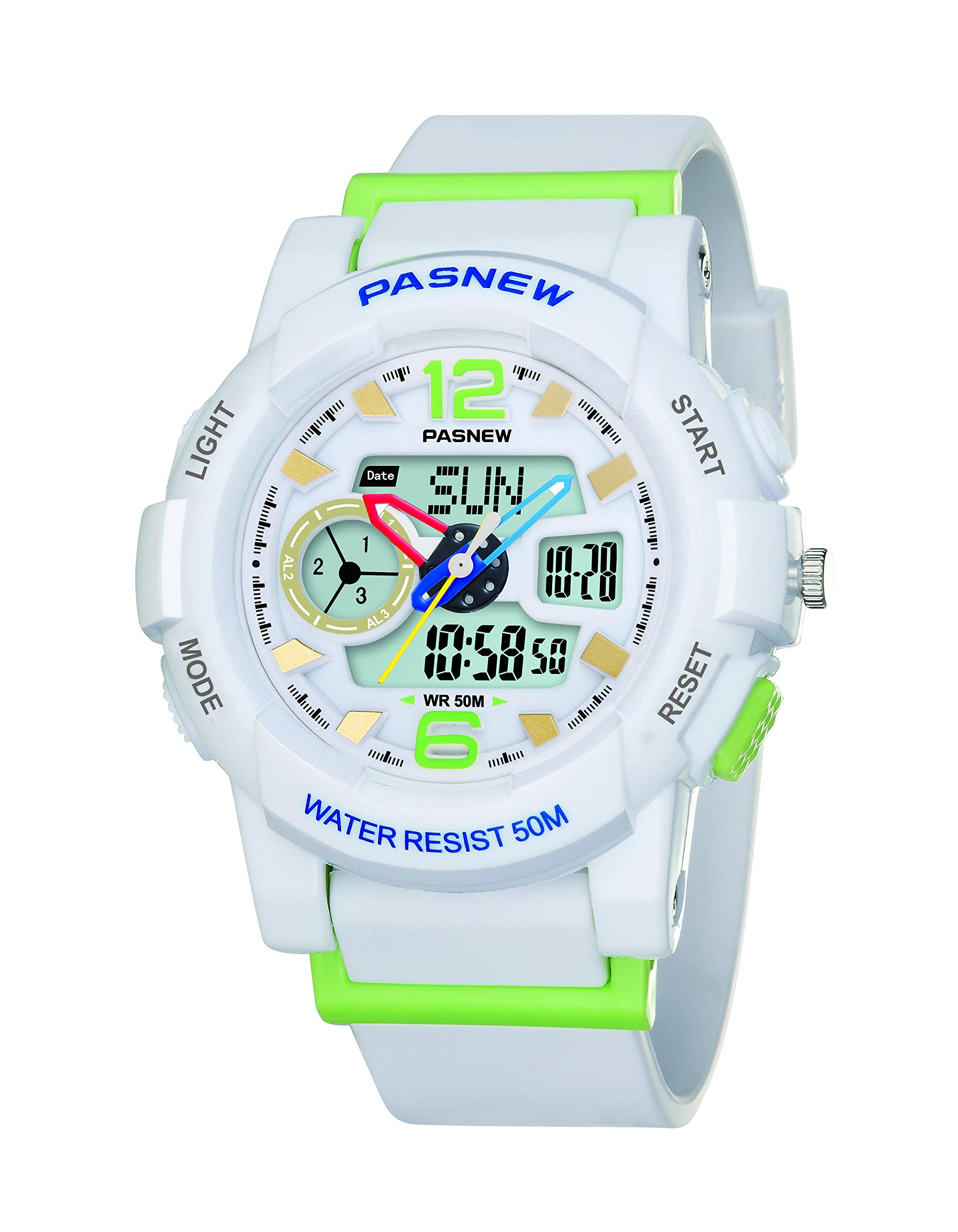 PASNEW Kid Watch Multi Function Digital-Analog Sport Watches for 8-Year Old or Above Children-White