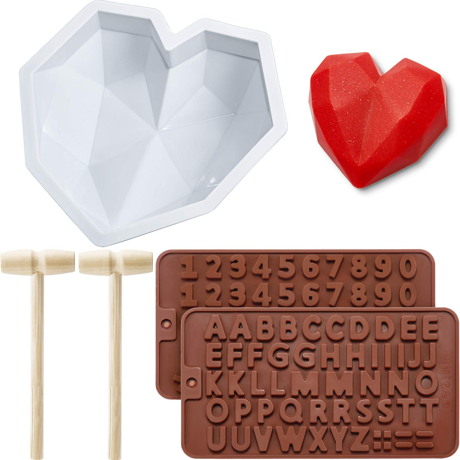 Diamond Heart Mousse Cake Mold Trays 8.7 Inch Silicone Baking Pan Oven Safe Not Sticky Mould, Wooden Hammers Mallet Pounding Toy and Chocolate Molds for Valentine Candy Chocolate Making (Brown)
