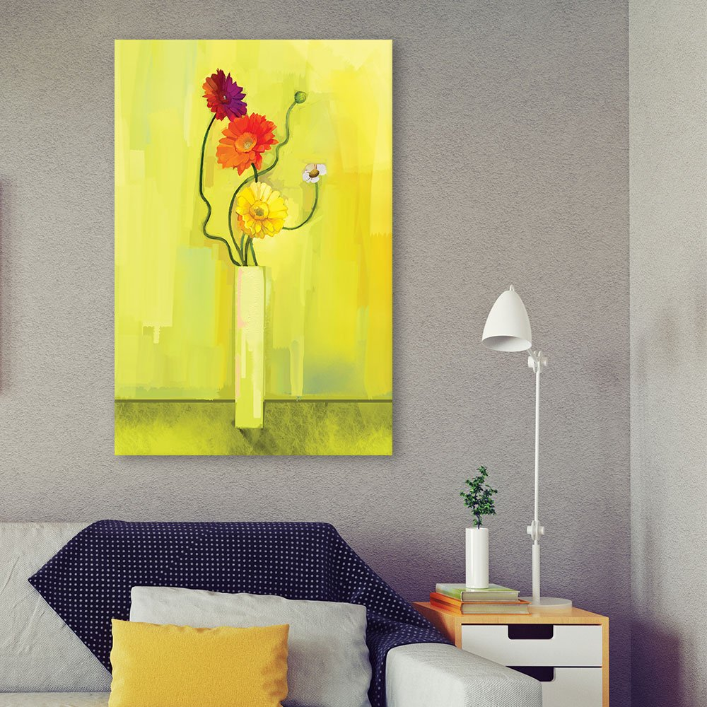 wall26 Canvas Wall Art - Flowers in a Vase on Yellow Background ...