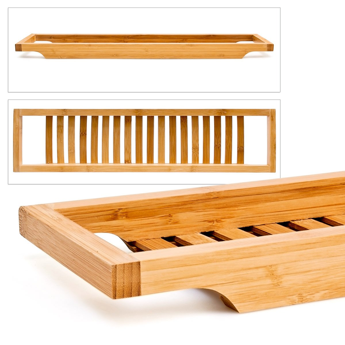 Slim Bamboo Bath Bridge, Bamboo Bath Shelf: Amazon.co.uk: DIY & Tools