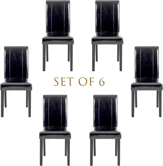 Amazon Com Set Of 6 Modern Pu Upholstered Dining Chairs Elegant Design Dining Room Chairs Black Set Of 6 Chairs