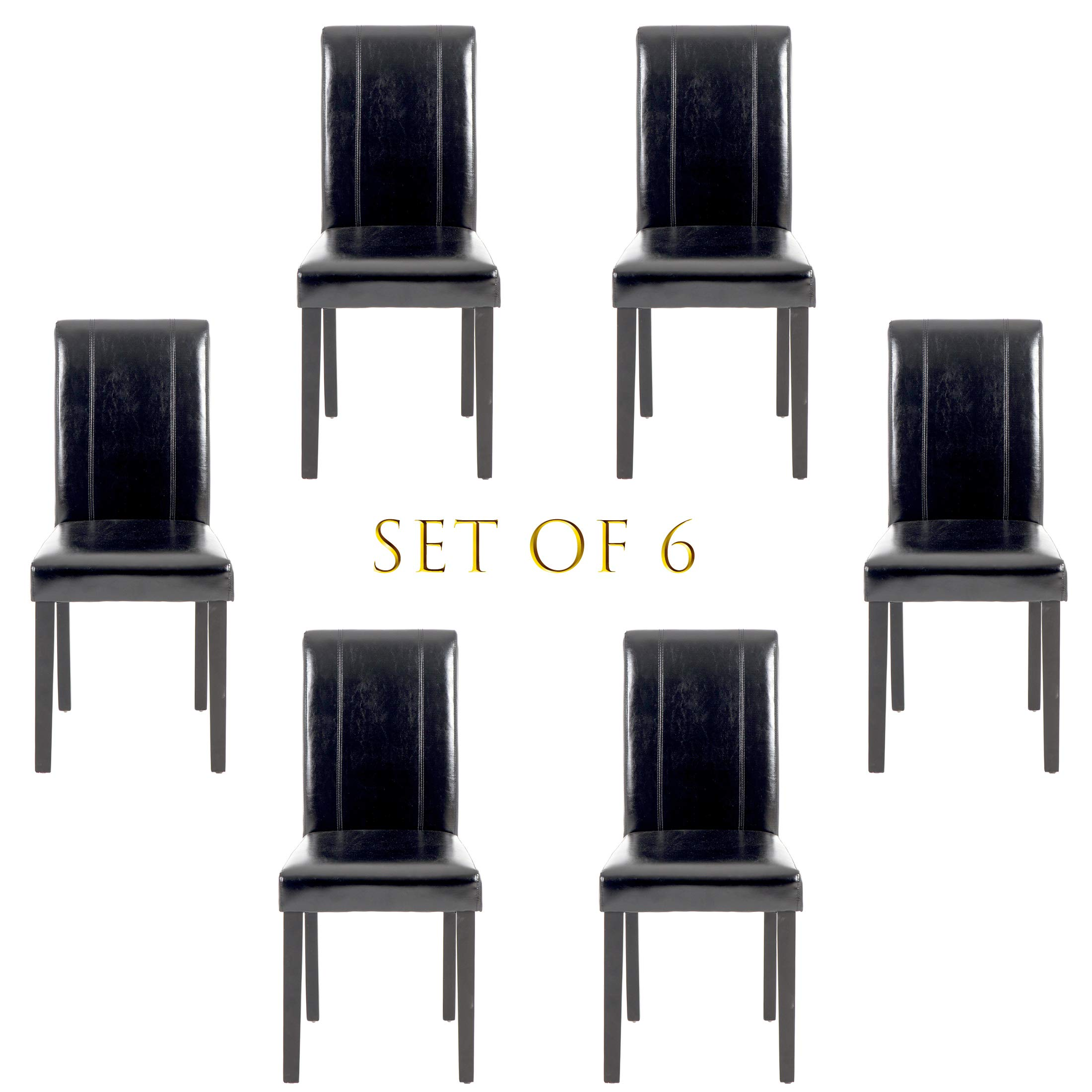 Set of 6 Modern Fabric Upholstered Dining Chairs Elegant Design Dining Room Chairs (Black Set of 6) by THKSBOUGHT