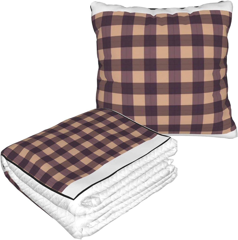Manta cuadrada de búfalo marrón, cálida, suave, plegable, 2 en 1, manta y almohada para casa, oficina, avión, camping, viajes en coche