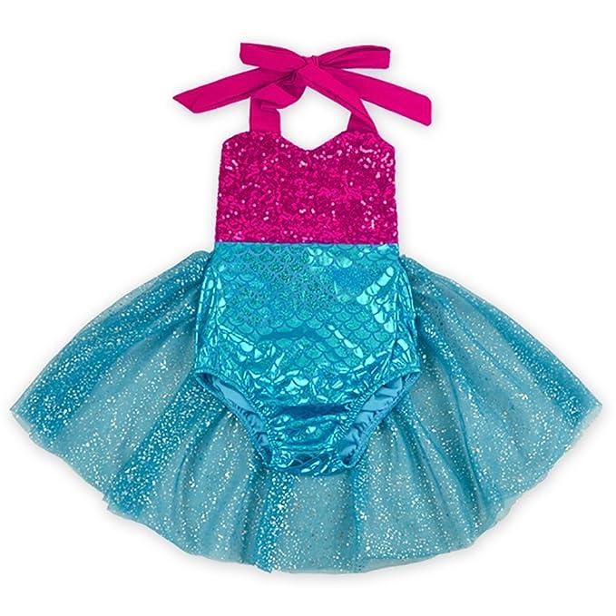 babyicon bebé niña de volantes sirena vestido de tul de tutú Pelele trajes Rosa rosa (b) S: Amazon.es: Ropa y accesorios