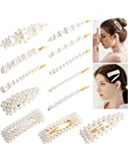 Pearl Hair Clips for Women, Homga 12pcs Pearl Hair Barrette Clips Girls Non-Slip Hair Barrette Hairpins Headwear Hairgrip Hair Styling Accessories for Party Wedding and Daily