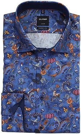OLYMP Luxor Modern Fit Camisa de manga larga con patrón azul ...