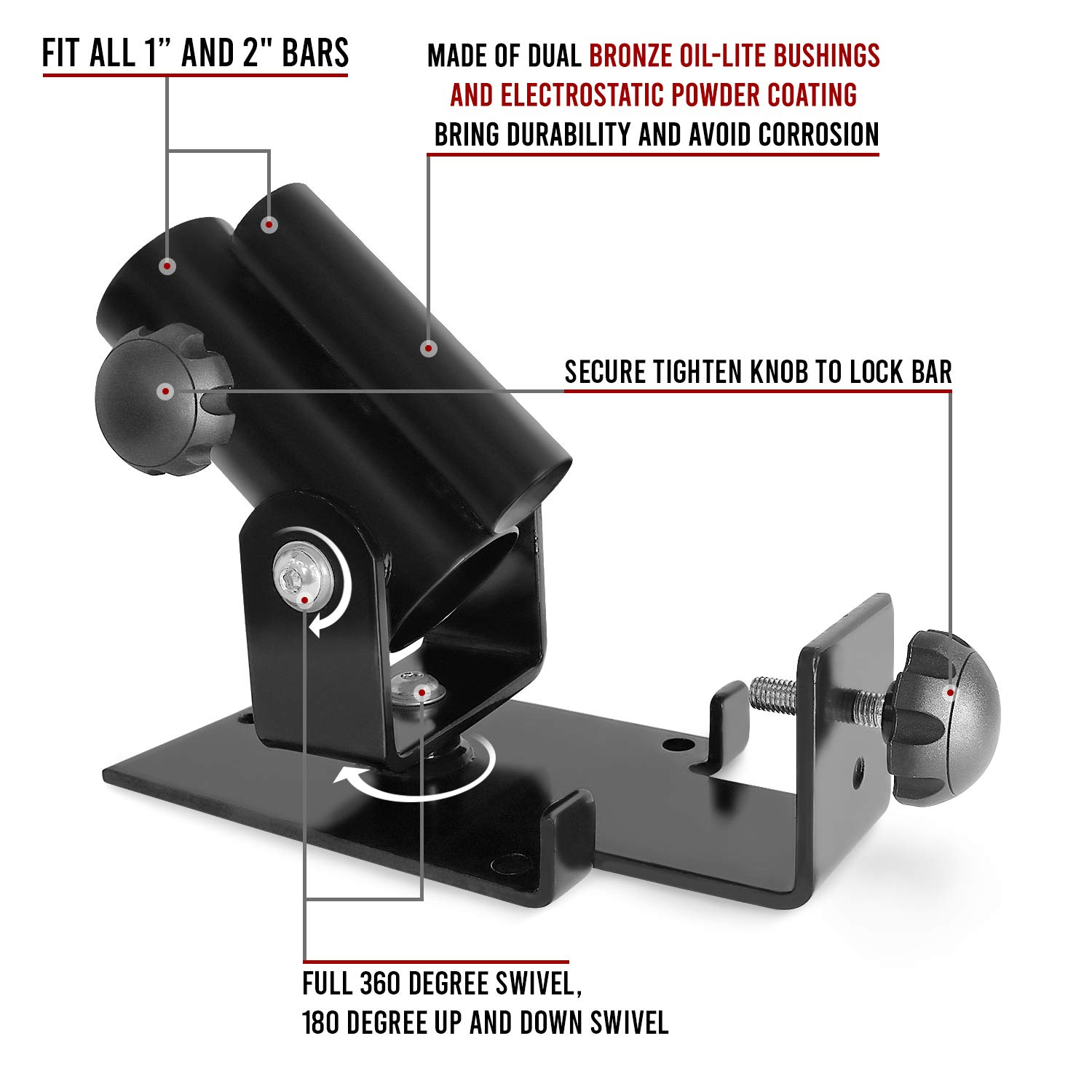 Fits 1-inch Standard /& 2-inch Olympic Bars Full 360/° Swivel for Easy Use in Small Spaces A2ZCARE Deluxe T-Bar Row Platform