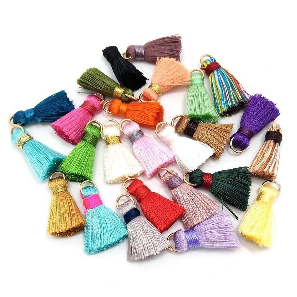 100pcs seta fatta a mano piccolo morbido nappe mini nappe, nappe, nappe orecchini colorati assortiti Colori casuali Jowneel