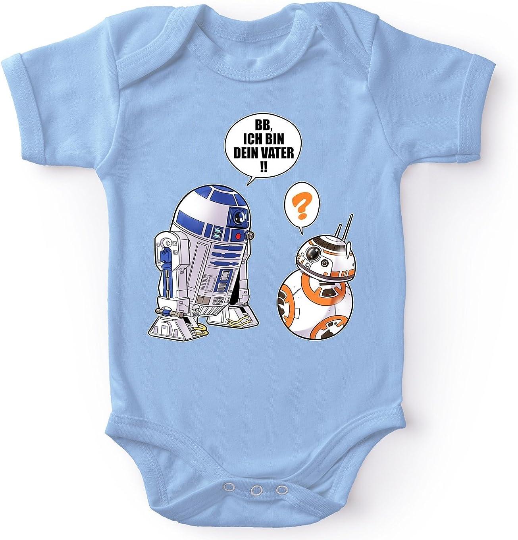 Star Wars Lustiges Blau Baby Strampler Star Wars Parodie R2-D2 und BB-8 Ref:863
