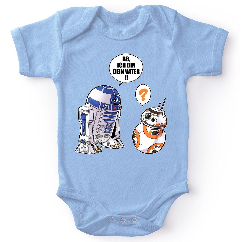 Ref:863 Star Wars Parodie R2-D2 und BB-8 Star Wars Lustiges Blau Baby Strampler
