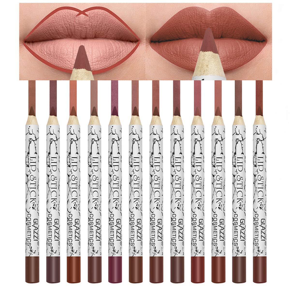Lip Liner Pencil Set,12 Color Matt Smooth Waterproof lip pencil set lip pencil set, Natural Long Lasting Makeup Lip Liners