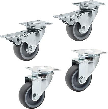 Ruote girevoli per il trasporto industriali pesanti Ruote per mobili Ruote istituzionali 4 pezzi 3//75mm 2 freno + 2 senza freno