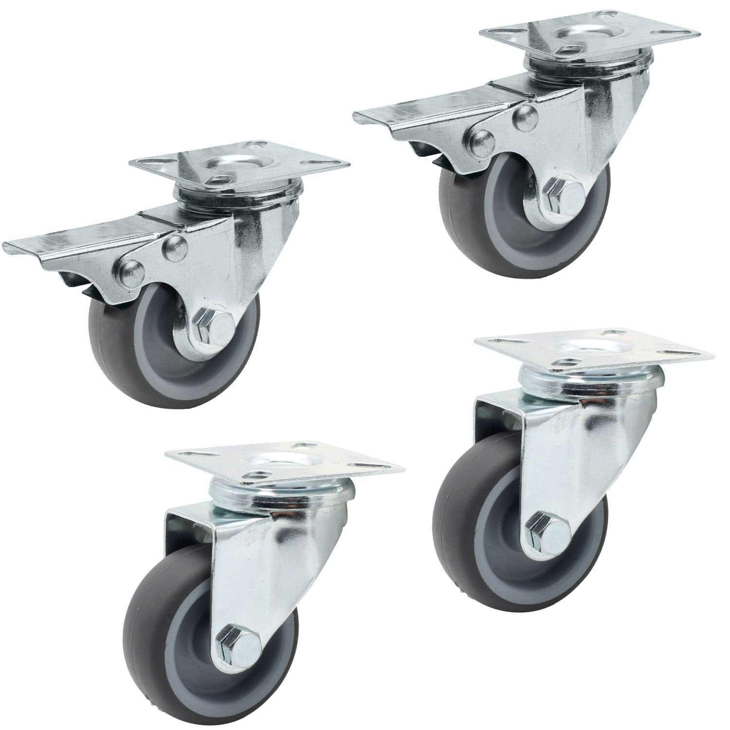 YITOO 4 piece castors 50mm set (2 swivel castors 50mm + 2 swivel castors with brake 50mm) Transport castors Furniture castors Apparatus castors Heavy duty castors Polypropylene Galvanized steel Light gray castors 50mm Load capacity 50KG / roll 150KG / set
