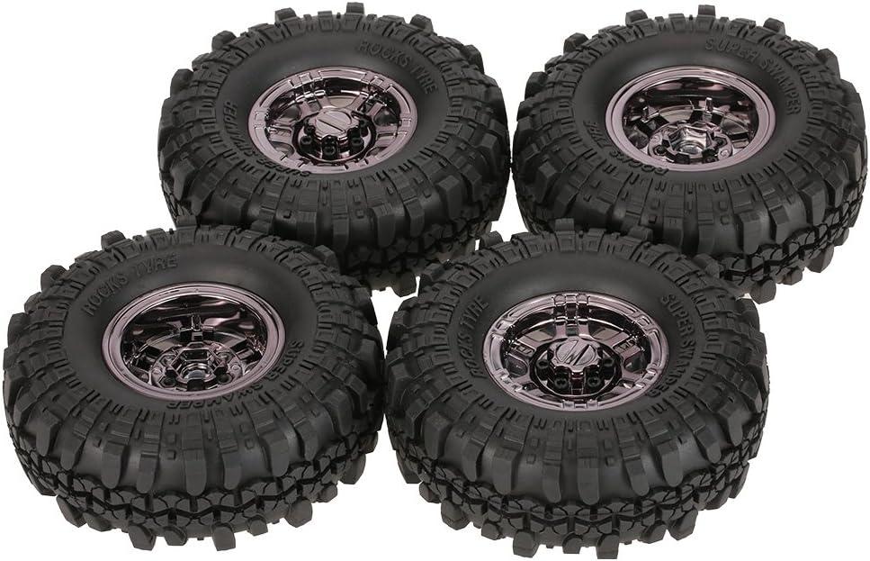 (Black) - Goolsky 4Pcs AUSTAR AX-4020C 1.9 Inch 110mm 1/10 Rock Crawler Tyres with Beadlock Wheel Rim for D90 SCX10 AXIAL RC4WD TF2 RC Car