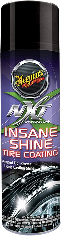 MEGUIAR'S NXT Generation Insane Shine Tire Coating – Aerosol Spray for Insane Gloss – G13115, 15 oz: Automotive
