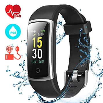 81df0fab7be5 CHEREEKI Pulsera Actividad, Pulsera de Actividad con Monitor Ritmo Cardíaco  Medición de la presión Arterial IP68 Podómetro Pulsera Deportiva(14 ...