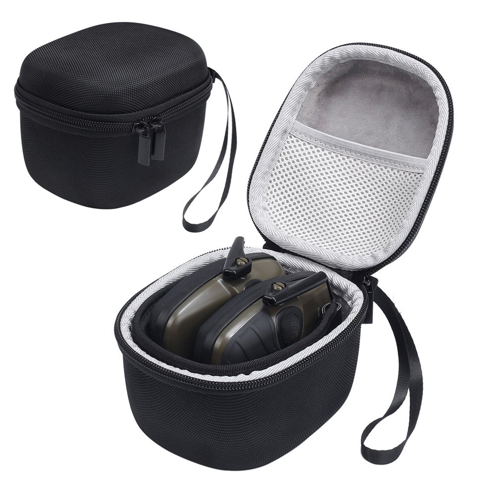 Esimen Hard Travel Storage Carrying Bag Case for Howard Leight Impact Sport OD Walker's Game Ear Razor Slim Electric Earmuff,Includes Mesh Pocket for Accessories (Black+Gray)