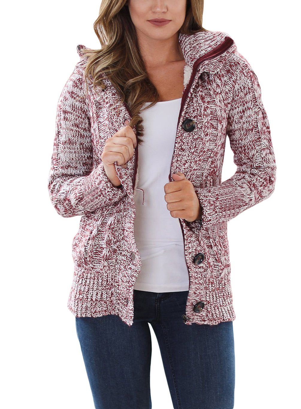 Annflat Women's Chunky Hooded Cable Knit Sweaters Fleece Lined Cardigan AFCS165