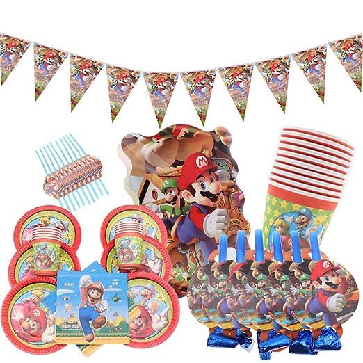 Party 59pcs / Lot Super Mario Theme Servilletas Copa Banner ...