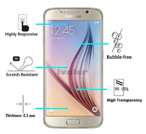 iVoler [2 Unidades] Protector de Pantalla Compatible con Samsung Galaxy S6, Cristal Vidrio Templado Premium [9H Dureza] [Ultra Fina 0,3mm] [2.5D Round ...