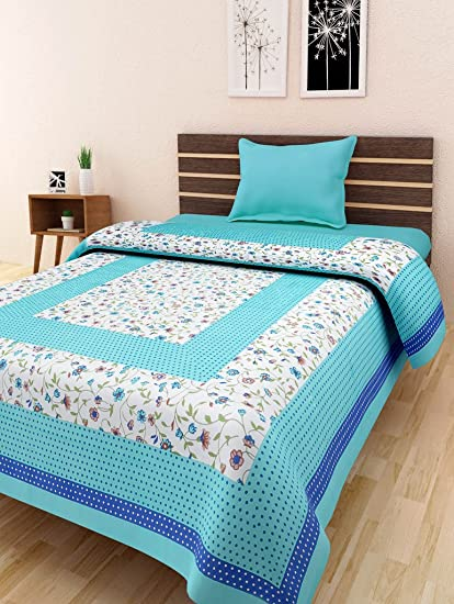 Bombay Spreads Multi Color Cotton Single Bed Sheet Without Pillow Cover For  Bedding Or Decoration (