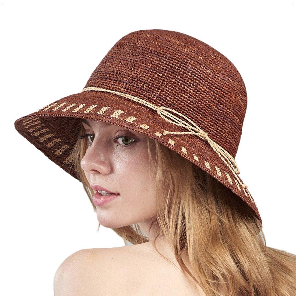 SUSHI Sombrero de Paja de Rafia para Mujer - Gorra de Playa de Borde Ancho  Plegable al Aire Libre Sombrero de Sol de Verano para Playa Sombrero de Paja  de ... 8dd55dc8cda