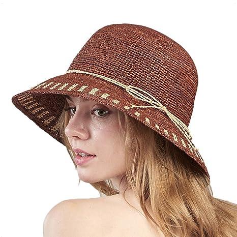 7257e809cf9c0 SUSHI Sombrero de Paja de Rafia para Mujer - Gorra de Playa de Borde Ancho  Plegable al ...