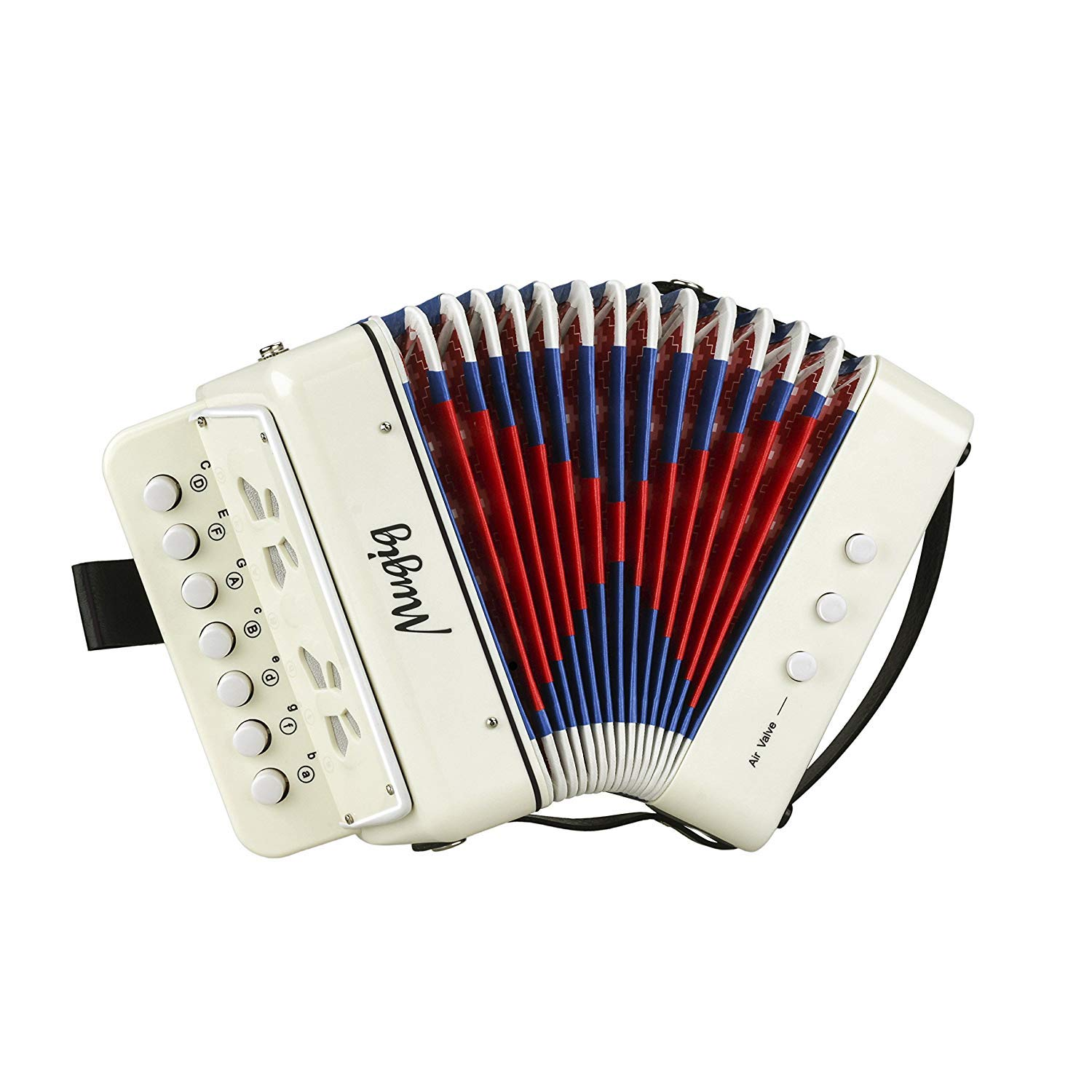 Mugig Kids Accordion, Ten Keys Toy Accordion with 3 Air Valves and Hand Strap, Mini Musical Instrument for Early Childhood Teaching, Solo and Ensemble Instrument, Gift for Kids(White)