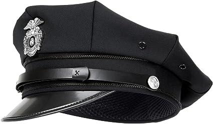 Gorra de policía estadounidense con placa, - black: Amazon.es ...