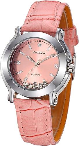 findtime Ladies Nice barato cuarzo Relojes de pulsera. De piel color rosa: Amazon.es: Relojes