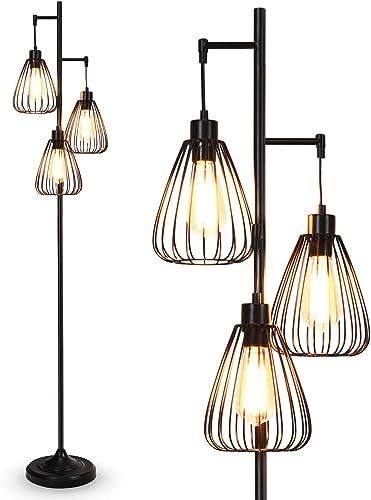 Tangkula 3 Lights Industrial Floor Lamp