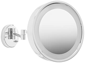 Amazon Com Jerdon Hl7cf 9 75 Inch Lighted Wall Mount Makeup Mirror