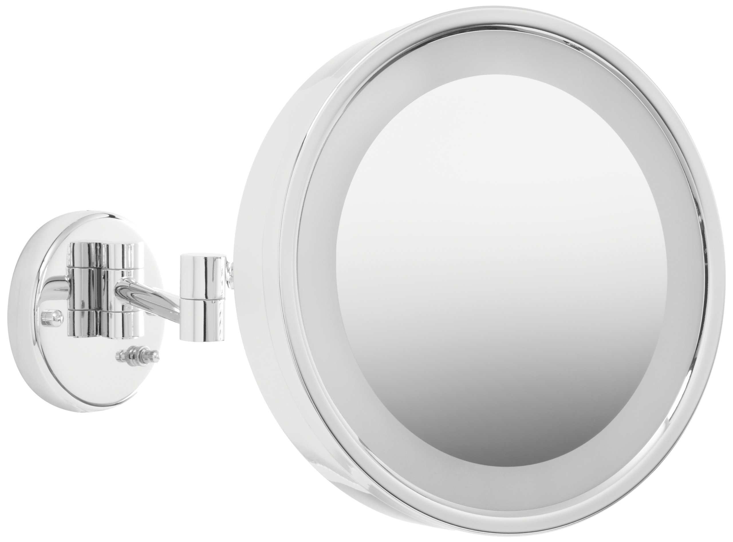Jerdon HL7CF 9.75-Inch Lighted Wall Mount Makeup Mirror with 3x Magnification, Chrome Finish