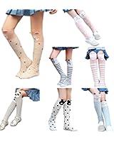 Gellwhu 7-Pack Girls Cotton Socks Cartoon Animal Knee High Stockings Leg Warmers