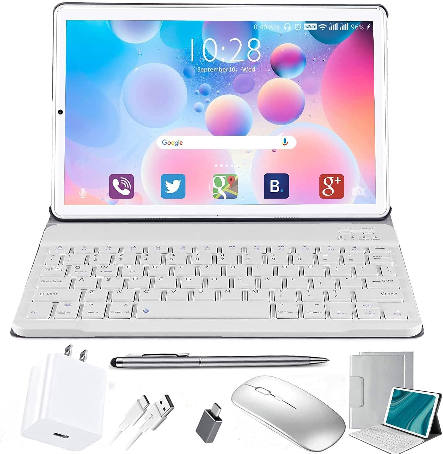 10 inch Tablet with Keyboard Android 10, 4 GB RAM + 64 GB ROM (720p/1080p Full HD-Display) Tablet 10 inch Prime, 8MP Camera Bluetooth GPS OTG (10 inch, 4GB RAM + 64 GB ROM, Silver)