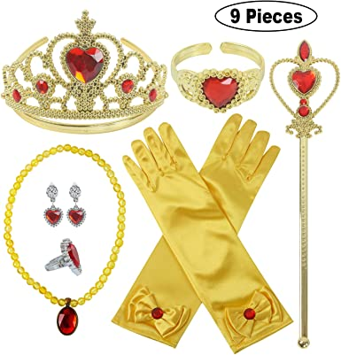 Princess Dress Up Party Accessories for Princess Costume Gloves Tiara Wand Necklace Earrings Bracelet and Ring Gift Set 9pcs