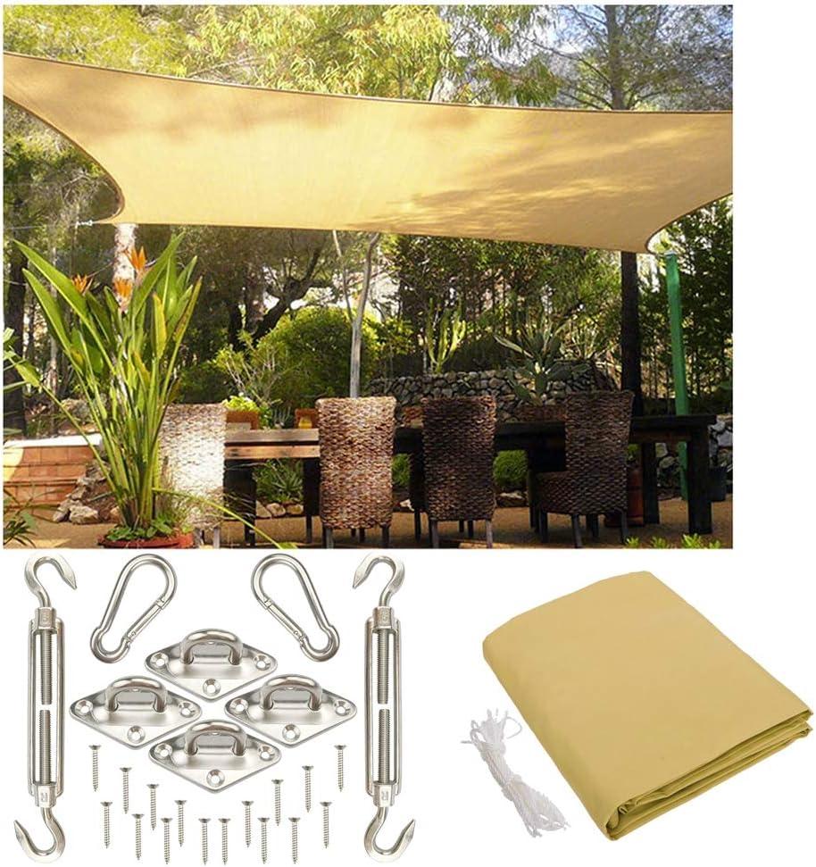 Toldo Vela de Sombra LIUSIYU 3x4.5m(tamaño Personalizable), Toldo Rectángulo | Resistente a la Intemperie y estabilizado a los Rayos UV | HDPE con Kit de Acero Inoxidable: Amazon.es: Deportes y aire libre