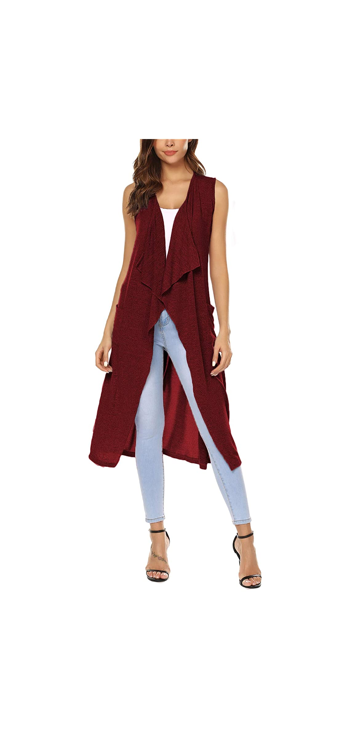Womens Casual Sleeveless Open Front Cardigan Sweater Vest