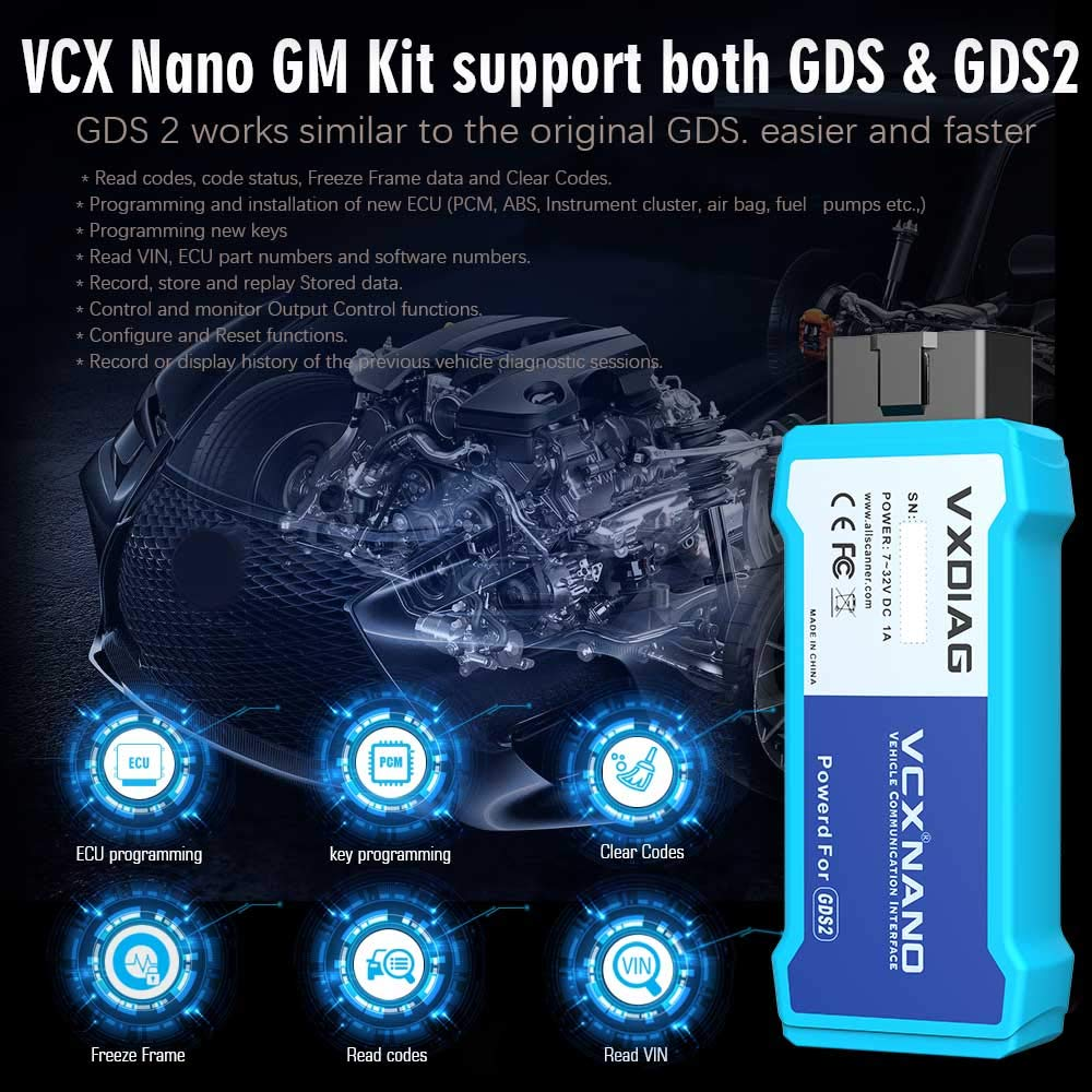 VXDIAG VCX Nano Sistema de diagn/óstico//programaci/ón para GM//Opel
