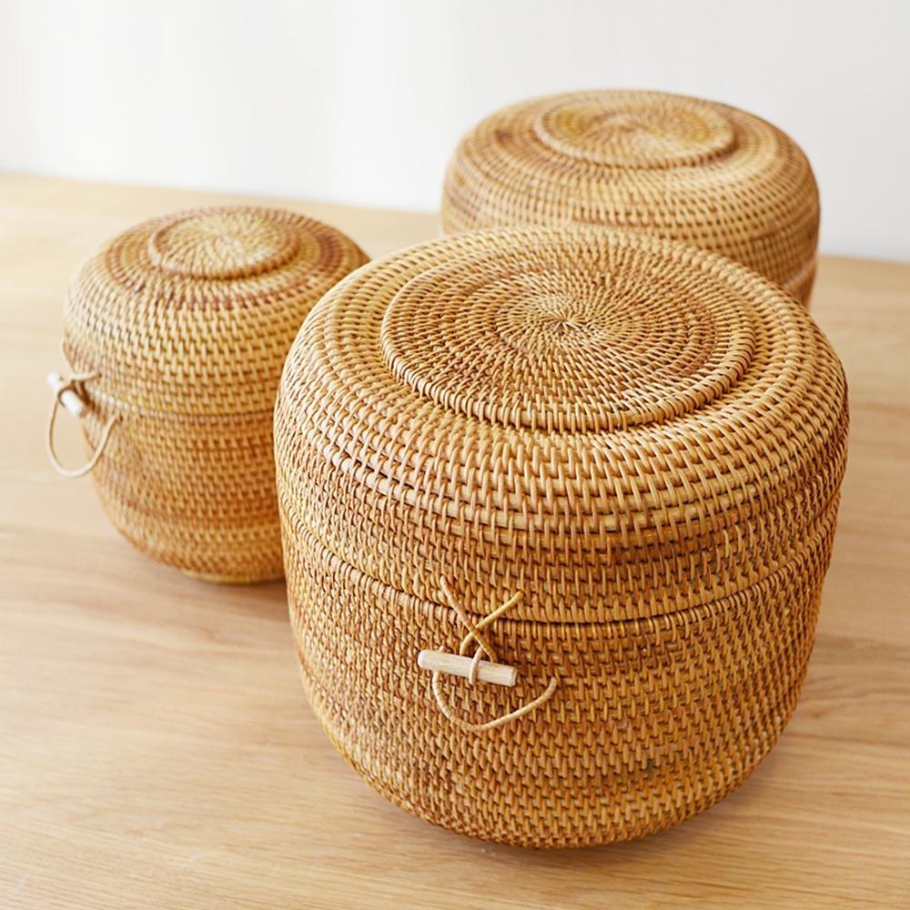Rattan intrecciato Tea Gift Box Tondo Box di stoccaggio , large (26cm 23cm