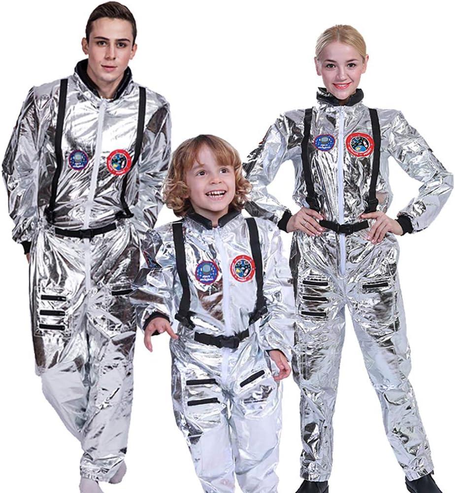 ENCOCO Astronauta Spaceman Disfraz Plata Espacio Jumpsuit para ...