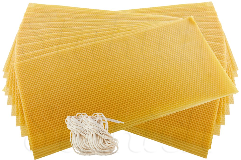 Stakich CANDLE MAKING Beeswax Kit, 50 Full Size Sheets (Approx. 8 1/8'' x 16 3/4'') - Top Quality, 100% Pure Beeswax -