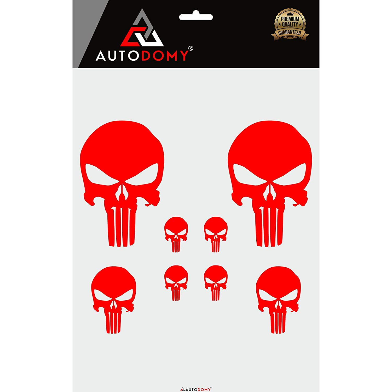 Blanco Autodomy Pegatinas Punisher Calavera Pack 8 Unidades para Coche o Moto