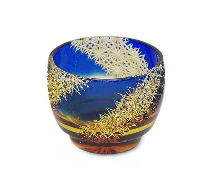 大場硝子 酒器[瑠璃琥珀/約6.0㎝×高さ5.0㎝]江戸切子 猪口 光る宙(木箱入り)