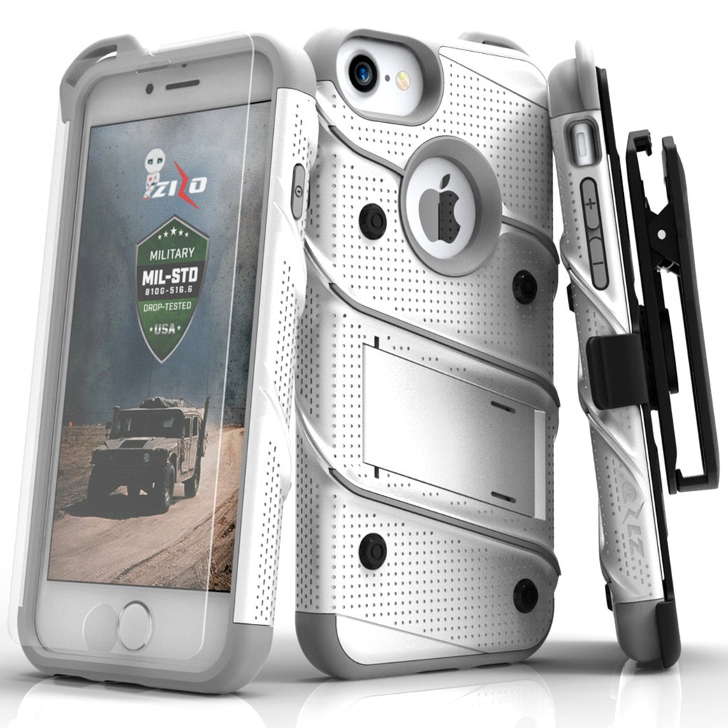 Zizo Bolt Series Compatible with iPhone 8 Case Military Grade Drop Tested with Tempered Glass Screen Protector, Holster iPhone 7 case White Gray