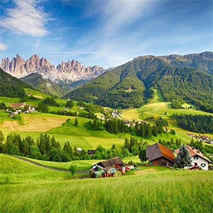 Superbe Laeacco Rocky Mountains 10x10ft Photography Background Mountain Range  Nature Landscape Green Hills Houses Meadow Blue Sky